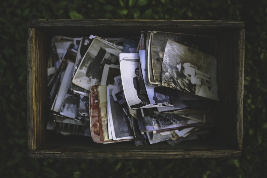 Old wooden box of photos