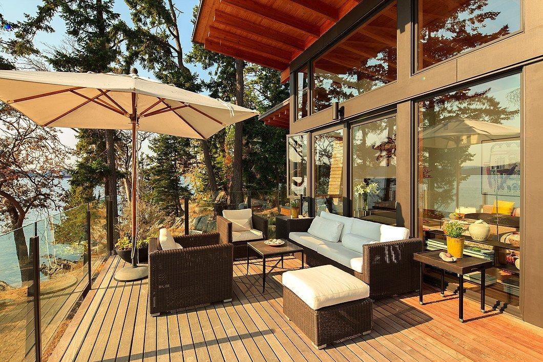 Sunny deck at 104 Trueworthy Rd, Saturna Island, BC