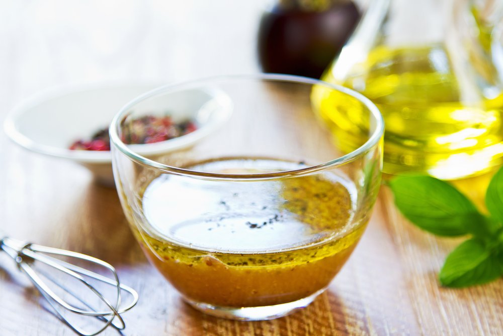 Healthy homemade salad dressing vinaigrette