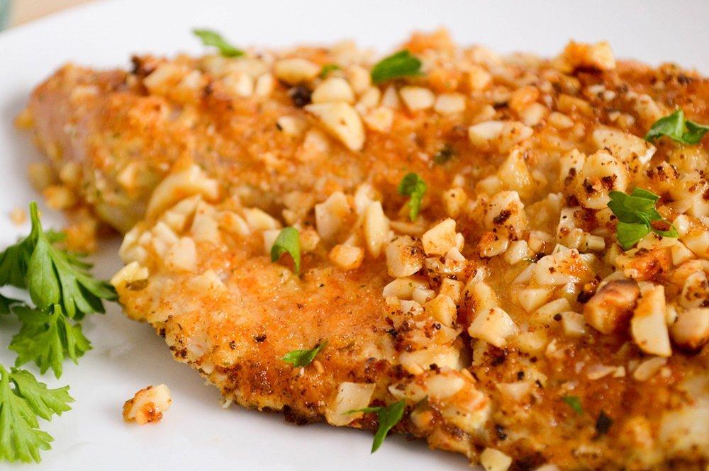 Paleo recipe Dijon Almond Crusted Tilapia