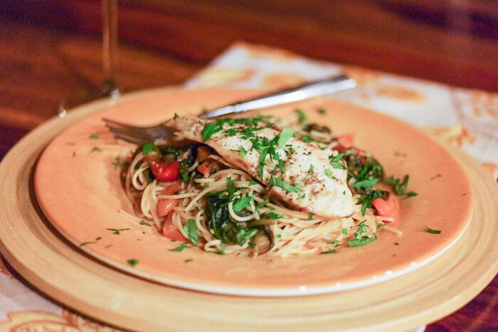 Provencal pasta with Tilapia, spinach, and fresh tomatoes
