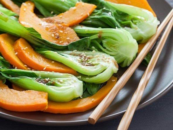 Steamed Pumpkin Bok Choi Asian recipe