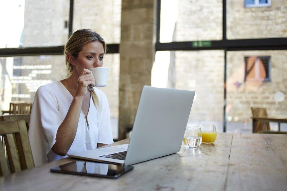 Businesswoman working remotely