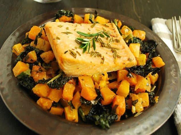 Salmon Roasted Butternut Squash Fall Recipe