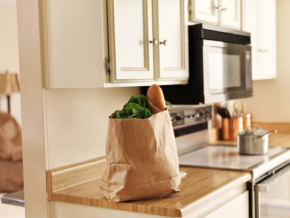 Grocery bag on counter