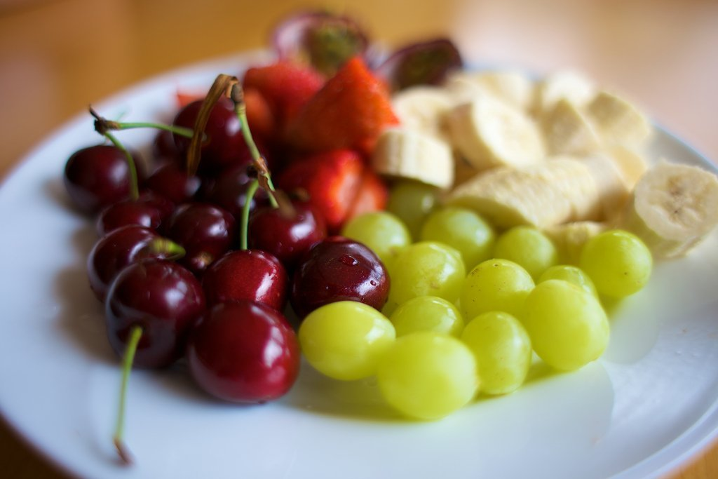 fruits cherries bananas grapes