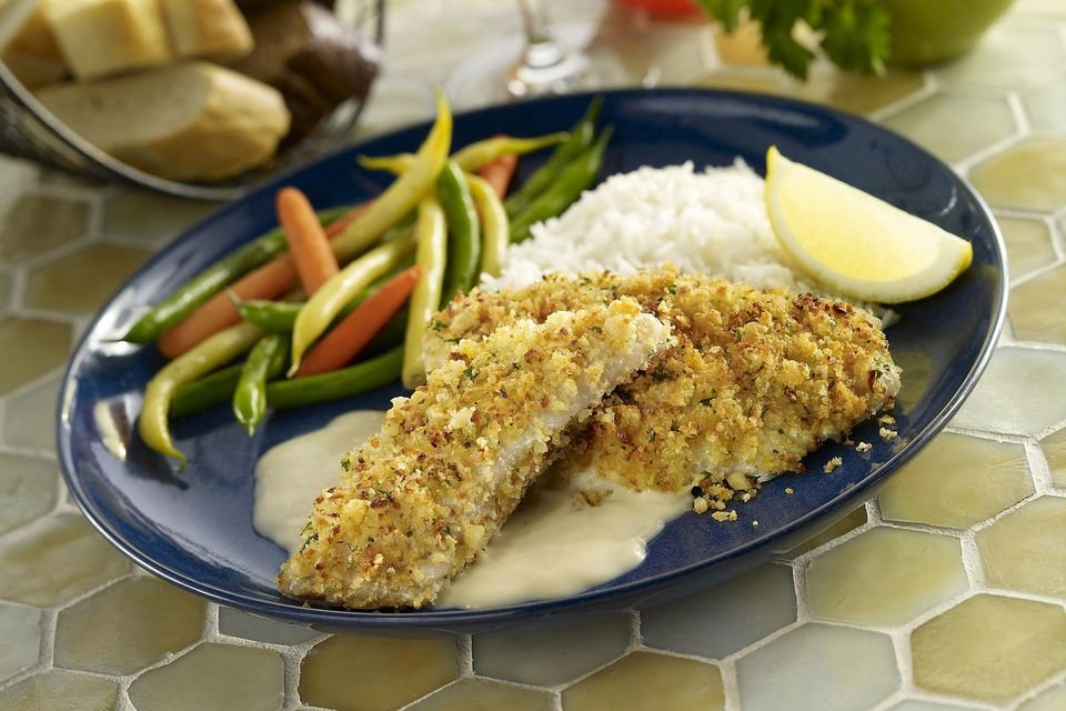 Baked tilapia fillets with mustard-pecan crust