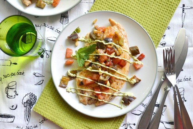 Pan-Seared Tilapia with Grilled Watermelon and Eggplant Salad
