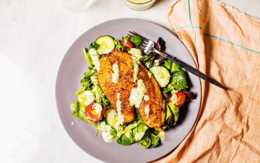 Tilapia Salad with Creamy Herb Dressing