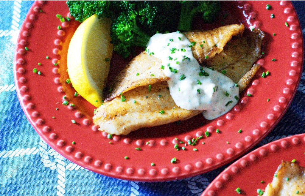 Pan-Seared Tilapia with Homemade Tartar Sauce