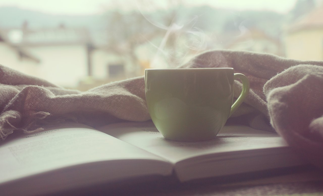 Hot mug of tea, book and blanket