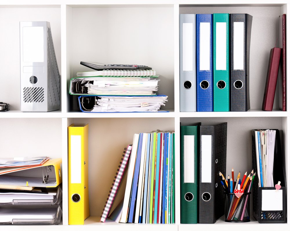 office supplies and files in shelves