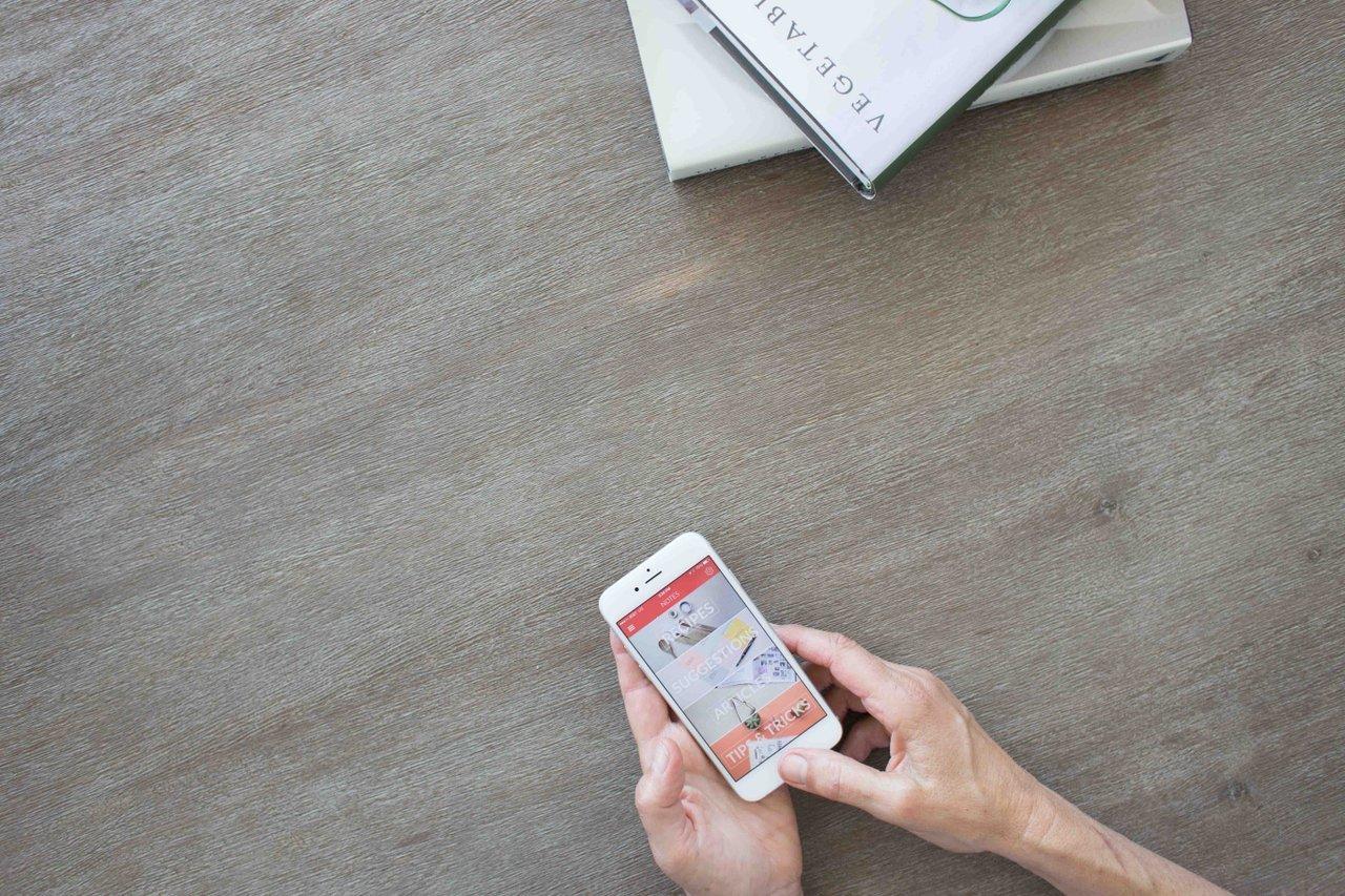 Hand on smartphone