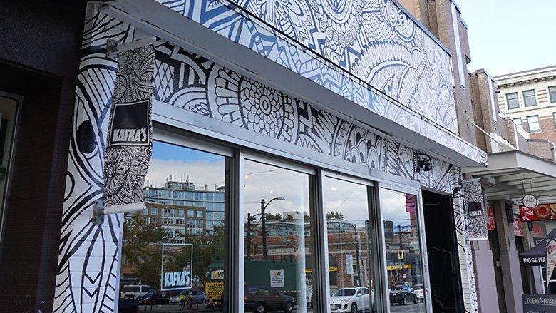 Kafkas Coffee Mural on Main Street