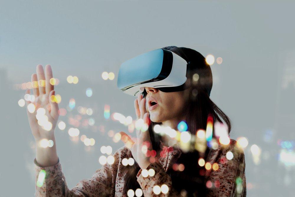 Woman Wearing Virtual Reality Helmet
