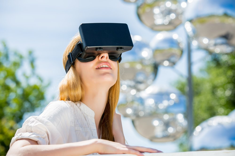 Woman Wearing Virtual Reality Headwear