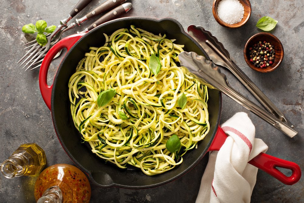Cooked zucchini noodles